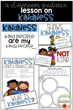 A school counseling classroom guidance lesson on kindness. Teach character education to and graders. Elementary Guidance Lessons, Elementary Counseling, School Counselor, Elementary Teacher, Elementary Schools, Career Counseling, Social Emotional Learning, Social Skills, School Social Work