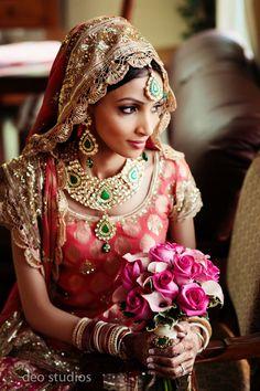 Beautiful Indian Bride, bridal jewellery, jewelry, pink lehenga, necklace, earrings, maang tikka