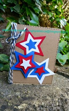 Stampin up bright and beautiful stamp set star framelits sizzix card 4th of july card. summer ideas. card making