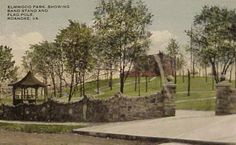 Elmwood Park in the early 1910's. With bandstand and pathways. Terry house is visible on the hilltop