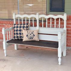 A $10 headboard and foot board from the thrift shop get turned into an amazing front porch bench. See how to make your own!