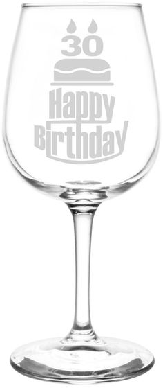 26th - 30th | Three Tier Happy Birthday Cake Decoration Inspired - Laser Engraved 12.75oz Libbey All-Purpose Wine Taster Glass