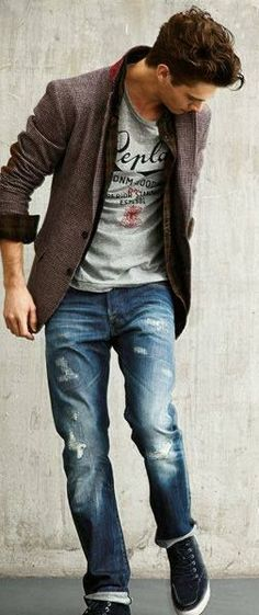 Distressed jeans can work on casual Friday. Cool graphic tees always welcome. Blazer in soft material is comfy