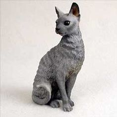 CAT CORNISH REX Blue sitting figurine resin new CF07 $13.94