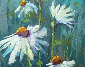 Items op Etsy die op White Daisies on Blue 5x7 Original Pastel Painting Karen Margulis lijken