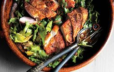 Paleo Crispy Chicken Breasts with Chermoula and Escarole - Bon Appétit