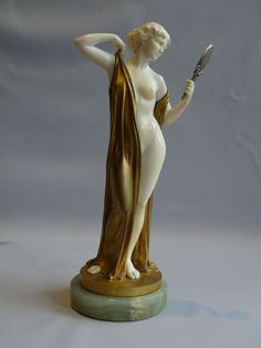Ferdinand Preiss Ferdinand Preiss Art Deco bronze and ivory of Vanity with