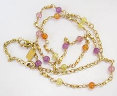 """STUNNING GOLD TONED CHAIN NECKLACE PURPLE PINK ART GLASS BEADS 20 3/4"""" G439"""