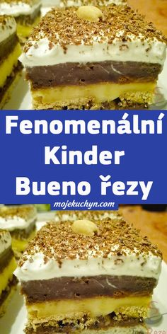 Fenomenální Kinder Bueno řezy Nutella, Tiramisu, Cheesecake, Sweets, Ethnic Recipes, Kids, Gummi Candy, Cheesecakes, Candy