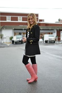 pink hunters ...adds color to an outfit :) So chic and ready for the weather!