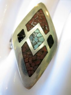 Vintage Sterling Silver Native Design Inlaid Mosaic Turquoise & Coral Ring Size 9 by CLASSYBAG on Etsy