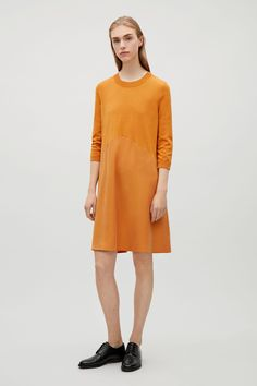 COS Dress with twill skirt in Camel