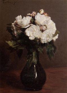 Анри Фантен-Латур. Белые розы в зеленой вазе
