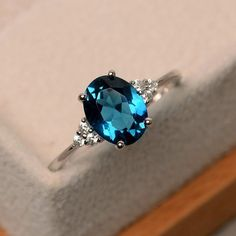 London blue topaz ring oval blue gemstone ring by LuoJewelry