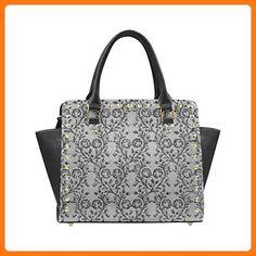 ADEDIY Vintage Floral Charcoal Pewter Rivet Shoulder Handbag (Model 1645)