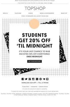 Topshop email 20% off for students 01.10.2014 #emailnewsletter