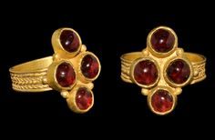 Ancient & Medieval History - Merovingian Gold and Garnet Ring, 6th-7th Century AD