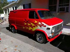 Red chevy van with flames.