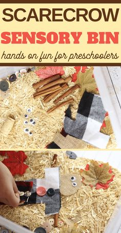 This easy fall build a scarecrow sensory bin activity is a fun way for kids to play and learn about fall--and all the exciting changes that come with this season! Rainy Day Crafts, Rainy Day Activities, Autumn Activities, Sensory Activities, Preschool Activities, Fall Sensory Bin, Sensory Table, Sensory Bins, Sensory Play