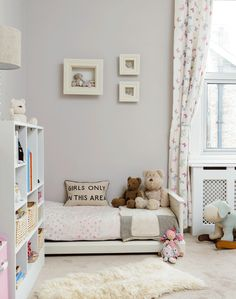 Girl's Bedroom in Pale Grey and Pretty Pink