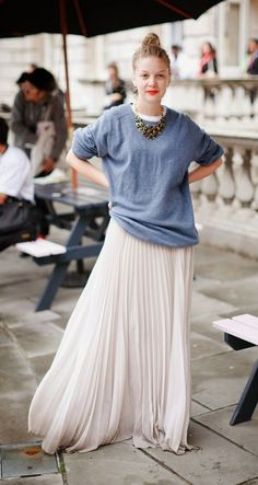 slouchy sweater and pleated skirt