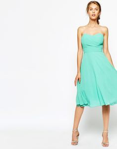 Buy TFNC Debutante Midi Dress at ASOS. Get the latest trends with ASOS now. White Cocktail Dress, White Midi Dress, Cocktail Dresses, Calf Length Dress, Knee Length Dresses, Chiffon Dress, Strapless Dress Formal, White Chiffon, Corsage