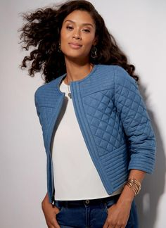 McCall's jacket sewing pattern comes with quilting option. M7549 Misses' Open-Front, Banded Jackets with Yokes