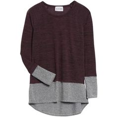 Love the burgundy & gray color-blocking and high neckline. #FixedOnFall