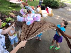 """Using stretchy fabric, we bounced our bears, counting each bounce until one fell out. The kids loved this. July 2013 """"Teddy Bear Picnic"""""""