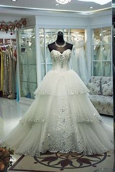 #Priceabate New White/Ivory Bridal Wedding Dress Gown Custom Size 2-4-6-8-10-12-14-16-18-20+ - Buy This Item Now For Only: $158.0
