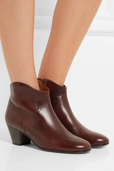 Isabel Marant - étoile Dicker Leather Ankle Boots - Dark brown - FR