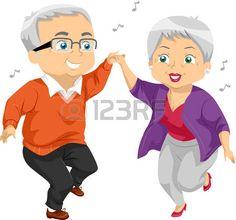abuela: Ilustración de un baile de pareja de ancianos en una fiesta