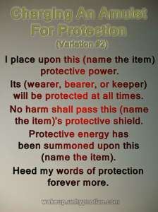 Variation #2 for a protection chant used for charging an Amulet.