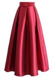 Bowknot Pleated Full Maxi Skirt in Red