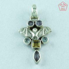 Amazing Look 925 Sterling Silver Multi Stone Pendant Jewelry P2737 #SilvexImagesIndiaPvtLtd #Pendant