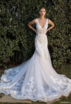demetrios 2020 bridal sleeveless with strap v neck heavily embellished bodice romantic elegant trumpet wedding dress open v back chapel train (4) mv -- Demetrios Capsule 2020 Wedding Dresses | Wedding Inspirasi #wedding #weddings #bridal #weddingdress #weddingdresses #bride #fashion  ~