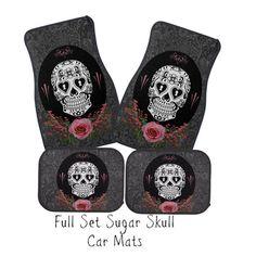 Car Mats Sugar Skull Dark Gray Damask Black Pink by FolkandFunky