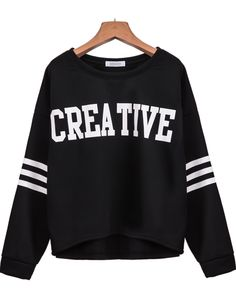To find out about the Black Long Sleeve CREATIVE Print Sweatshirt at SHEIN, part of our latest Sweatshirts ready to shop online today! Sweat Shirt, Blue Fur Coat, Printed Sweatshirts, Hoodies, Tumblr Outfits, Sweatshirt Dress, Casual T Shirts, Printing, Fashion Outfits