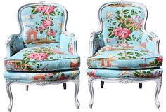 Scalamandre-Fabric Chairs, Pair - Can I have this in my house & read & drink coffee all the time?