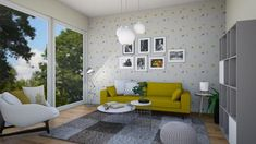 yellow sofa - Modern - Living room - by levai_magdolna