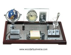 Executive Desk Organizer with clock and picture frame WASCB0077 #sale http://woodartsuniverse.com/catalog/product_info.php?cPath=28&products_id=275