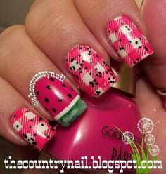 Cute watermelon picnic country nails
