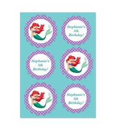 Ariel The Little Mermaid - Customized Toppers, Stickers, Labels, Tags etc. (all 3 sheets included) on Etsy, $3.00