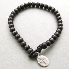 Mens black wooden beaded leather cord bracelet with by lowusu