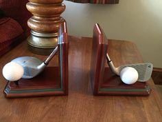 Golf Theme Country Club Book Ends Wood With Golf Balls & Clubs Figi Graphics