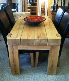Dining room table from railway sleepers. Wooden Dining Tables, Rustic Table, Farmhouse Table, Wood Table, Oak Railway Sleepers, Oak Sleepers, Sleeper Table, Wooden Sliding Doors, Coffee Table Design