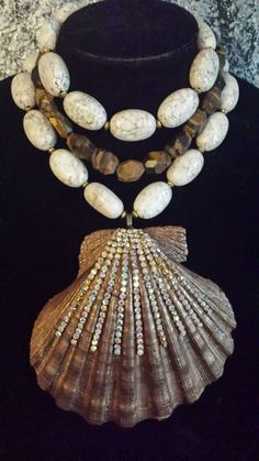 Mermaid Shell Statement Necklace Bejeweled Shell Big Bold Chunky White Turquoise Rich Elegant Sophisticated Jewelry POSH Couture VRBA MOANS