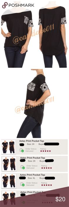⭐️5 STAR rated!⭐️ Aztec Print Pocket Top ✳️Feel free to make a reasonable offer. 👍 ✳️ 🔹95% Rayon, 5% Spandex 🇺🇸Made in the USA🇺🇸 🔹Size Recommendations: S (2-4) M (6-8) L (10-12) XL (14-16) 2X (18-20) 3X (22-24) CC Boutique  Tops Tees - Short Sleeve