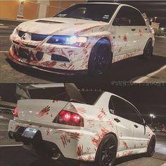 Mitsubishi Lancer Evo -- Love the paint job! Mazda, Street Racing Cars, Car Paint Jobs, Evo 9, Mitsubishi Lancer Evolution, Evo Mitsubishi, Jeep Cars, Japanese Cars, Modified Cars