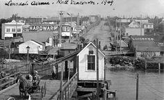 Northern view of Lonsdale Avenue, North Van, from the ferry dock. North Vancouver, Vancouver Island, Old Photos, Vintage Photos, Back In The Day, Pacific Northwest, Historical Photos, British Columbia